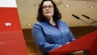 Wiederholte Niederlage für die SPD: Parteivorsitzende Andrea Nahles bei den bayerischen Landtagswahlen im Willy-Brandt-Haus.