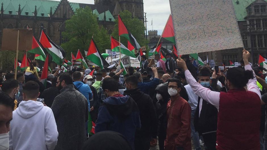 Eine pro-palästinensische Demonstration in Bremen am Donnerstag