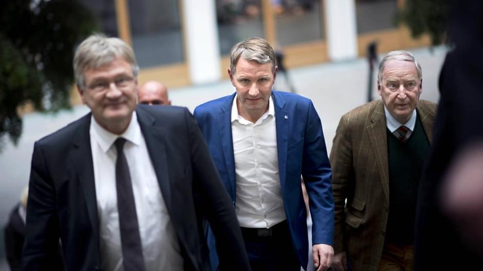 Schwer zu trennen: Jörg Meuthen, Björn Höcke und Alexander Gauland im Oktober