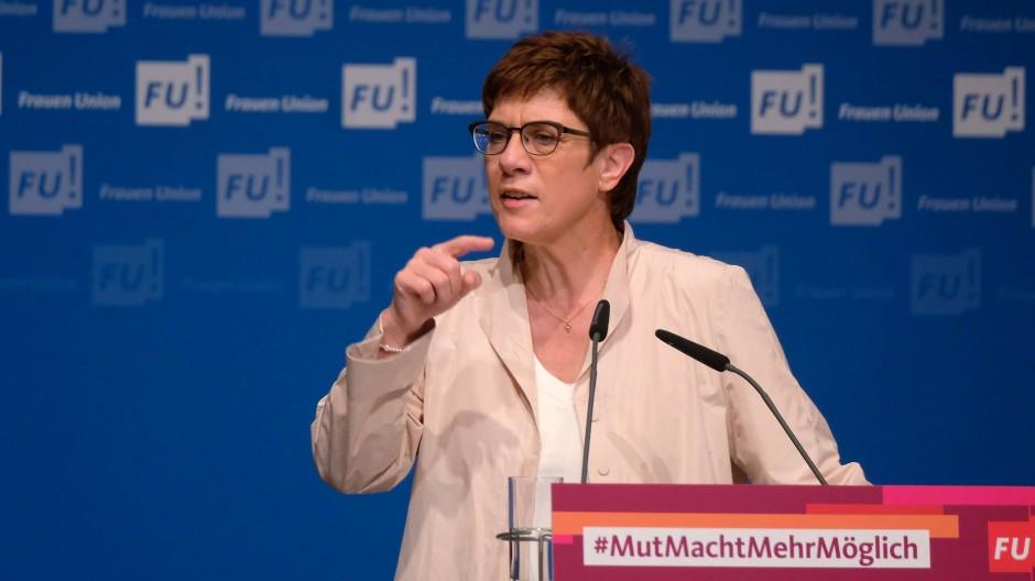 Die CDU-Vorsitzende Annegret Kramp-Karrenbauer am Samstag in Leipzig
