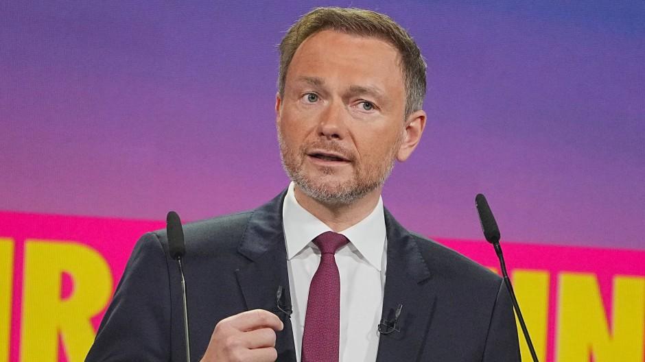 Als FDP-Parteivorsitzender wiedergewählt: Christian Lindner am Freitag in Berlin beim digitalen Parteitag der Freien Demokraten