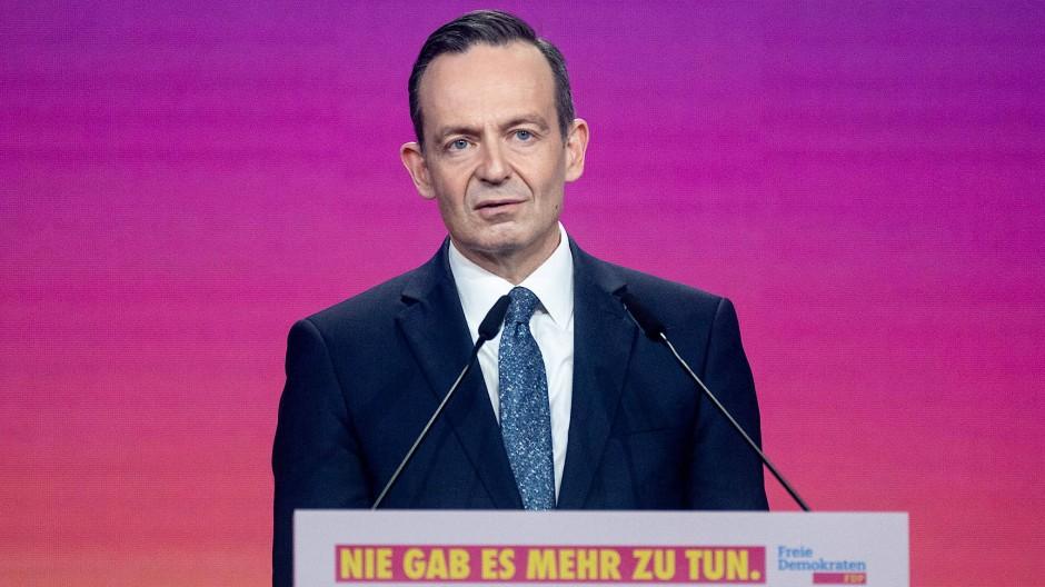 Volker Wissing am Samstag auf dem digitalen Parteitag der FDP