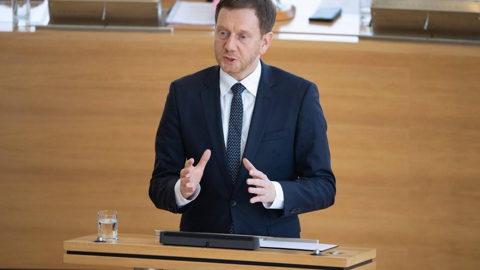 Michael Kretschmer im März in Dresden