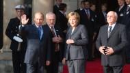 Deutsch-russische Konsultationen am 15. Oktober 2007 mit Wladimir Putin, Lothar de Maizière, Angela Merkel und Michail Gorbatschow
