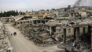 Zerstörte Straße am 27. März 2015 in Kobane, Syrien