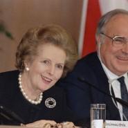 Margaret Thatcher und Helmut Kohl am 21. Februar 1989 in Frankfurt.