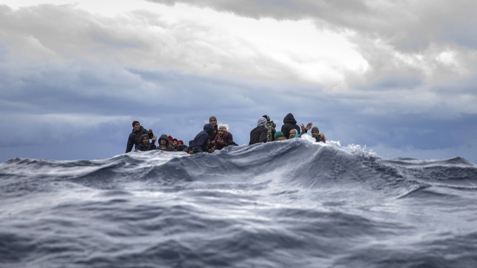 Flüchtlinge auf dem Mittelmeer im Januar 2020.