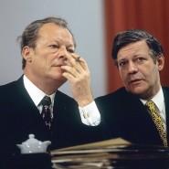 Bundeskanzler Willy Brandt und Bundesverteidigungsminister Helmut Schmidt auf dem SPD-Parteitag im Oktober 1972 in Dortmund.