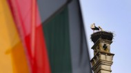 Störche auf einem Schornstein in Isny hinter einer Deutschlandfahne