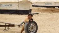 Ein syrisches Kind am 8. März 2014 in einem Flüchtlingslager in Jordanien