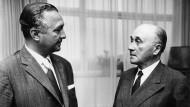 Der FDP-Vorsitzende Erich Mende und Jean Monnet am 18. Juni 1963 in Bonn