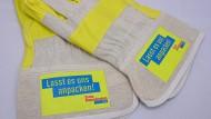 Werbematerial zur Bundestagswahl: FDP-Arbeitshandschuhe