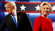 Donald Trump und Hillary Clinton nach ihrem ersten Schlagabtausch