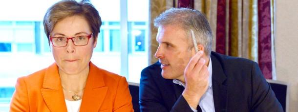 Königsmacher wider Wahlergebnis: der stellvertretende SPD-Vorsitzende und Erfurter Oberbürgermeister Andreas Bausewein und die gescheiterte SPD-Spitzenkandidatin Heike Taubert