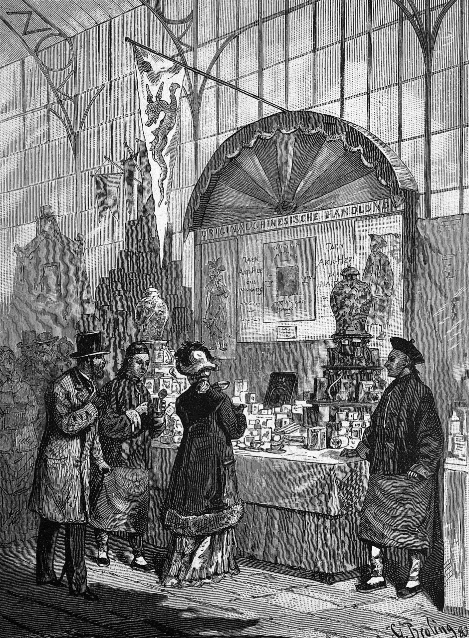 Das Interesse an fremder Küche war immer da: Chinesischer Kaufmann auf der Kochkunst-Ausstellung in Leipzig, 1883.