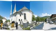 Die Kirche im Dorf, der Berg darüber: Bayrischzell am Wendelstein