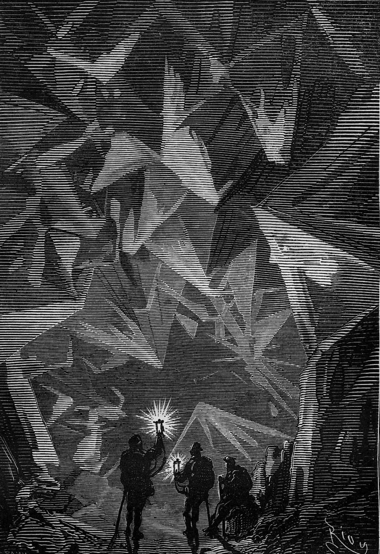 Die Höhle bei Jules Verne, gezeichnet von Édouard Riou für die Erstausgabe 1864.