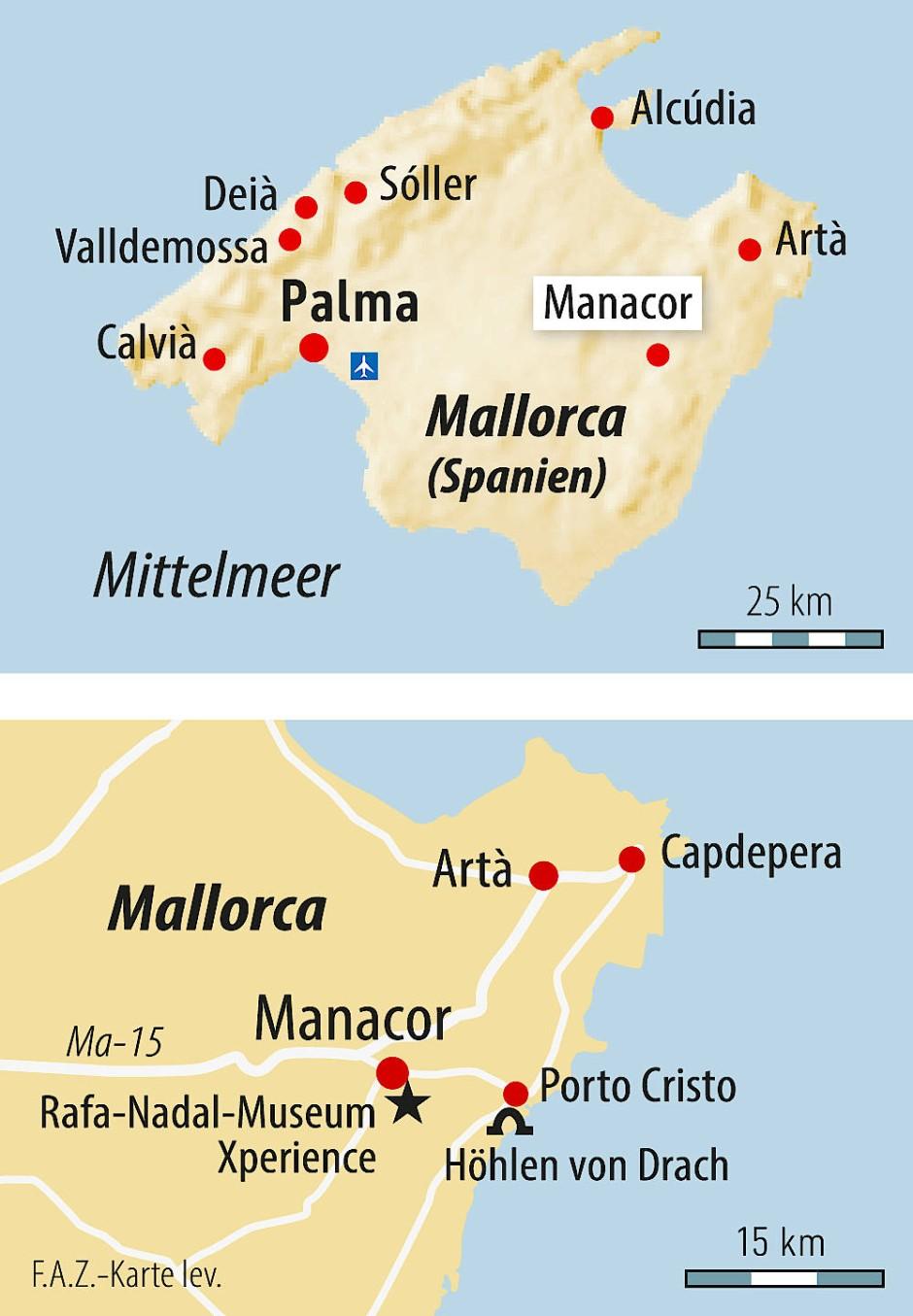 Porto Cristo Karte.Die Mallorquinische Stadt Manacor