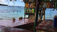 Einfach, aber charmant: Die Bar unter den Mandelbäumen von Winnifred Beach