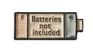 Schön metallisch: In diesem Sticker sind Batterien wirklich nicht enthalten.
