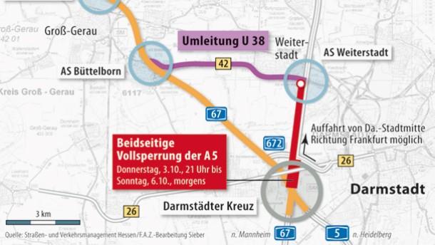 Autobahn A5 Sperrung