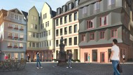 Eine eigene Wohnung in der Altstadt: Wie hier am Hühnermarkt entstehen außer 15 Rekonstruktionen auch 20 Neubauten auf dem Dom-Römer-Areal. Ein Quadratmeter Wohnfläche kostet dort zwischen 5000 und 7250 Euro.