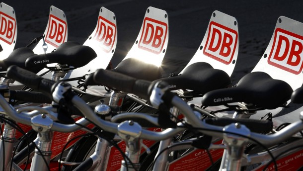 Rental bikes of German railway Deutsche Bahn AG are seen downtown Frankfurt