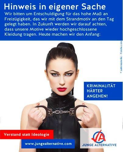 Nach dem Plakat mit fünf Frauenpos hat die JA reagiert: Man wolle jetzt nur noch hochgeschlossene Models zeigen.