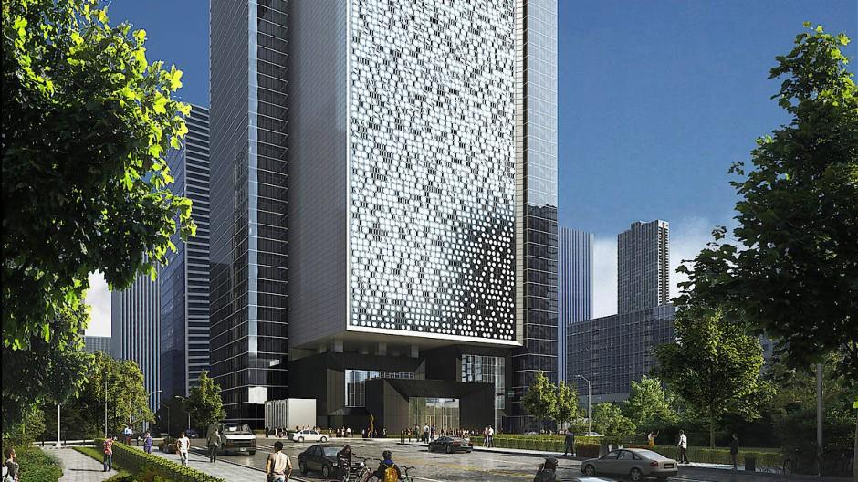 Herausragend: So soll das erste Hochhaus aussehen, das im chinesischen Shenzhen eigens für Server und Router errichtet wird.