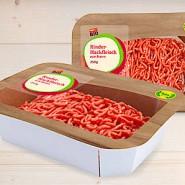 Statt Plastikschale: Karton für Hackfleisch – dünne Folie inklusive