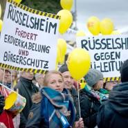 Trassenfragen: Protest gegen die Stromautobahn im Februar 2019 in Niedernhausen