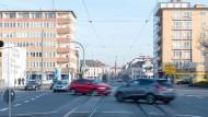 Verengt: Die Rheinstraße als Einfahrtstraße nach Darmstadt wird hinter dem Steubenplatz immer schmaler.