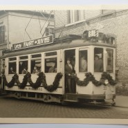 """Vergangenheit: Die letzte Fahrt einer """"Elektrischen"""" in Wiesbaden im April 1955. Damals galt der Bus als wegweisendes öffentliches Verkehrsmittel."""