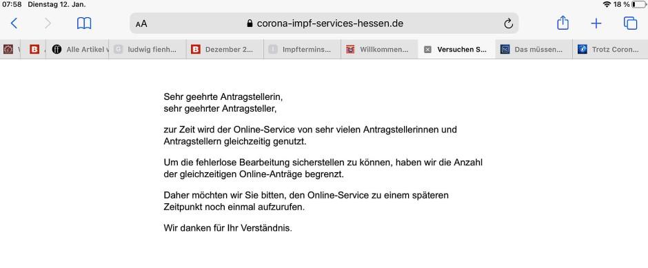 Überlastet: Internetseite des hessischen Corona-Impf-Service am Dienstagmorgen