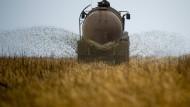 Nährstoff und Nitratquelle: Ein Bauer bringt Gülle aus.