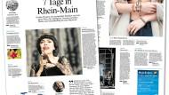 """So schön kann das Leben sein: Zwei von 16 Seiten des Produkts """"Leben in Rhein-Main"""", in dem die Redaktion künftig eine Übersicht unter anderem über Veranstaltungen, das Kinoprogramm und die gastronomische Szene gibt"""