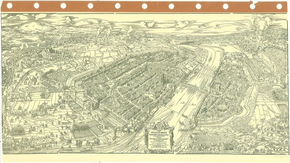 Hart umkämpft: Die Entwicklung Frankfurts ist eng mit der Reformation verknüpft. Gut drei Jahrzehnte nach Luthers Besuch standen die protestantischen Truppen des Kurfürsten Moritz von Sachsen vor den Toren, wie hier auf dem Belagerungsplan von 1552 dargestellt. Die Stadt war zwar selbst protestantisch, jedoch kaisertreu.