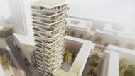 Grün am Bau: Für den 90 Meter hohen Wohnturm wünscht sich der Bauherr viel Bepflanzung. Der drittplatzierte Entwurf des Architekturbüros KSP setzt auf begrünte Balkon
