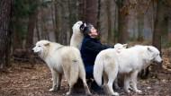 Bild aus glücklichen Zeiten: Die Betreuerin Marion Ebel mit den Wölfen Ayla, Scott und Khan.