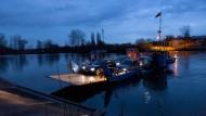 Gefunden: Der vermisste Main-Schwimmer, der nahe Rumpenheim untergegangen war, ist in Offenbach tot am Flussufer entdeckt worden - hier die Mainfähre bei Rumpenheim
