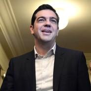 Zuspruch: Linkspartei-Vorsitzender Bernd Riexinger unterstützt Alexis Tsipras wie einen griechischen Gott.