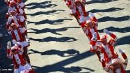Schattenspiel: Tanzparade am Mainzer Rosenmontag.
