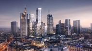 """Die Skyline wächst: Vier neue Türme sollen das Bankenviertel abrunden. Im mit 228 Metern höchsten Turm """"Max"""" und im niedrigsten Hochhaus ziehen Büros ein. Zwei Wohntürme orientieren sich zum Roßmarkt hin."""