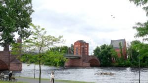 Geplanter Brückenturm vier Meter niedriger