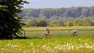Durchs Grüne: Zwei Radfahrer auf der Regionalpark-Route zwischen Frankfurt und Friedrichsdorf.