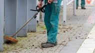 Daueraufgabe: Bahnhöfe müssen ständen sauber gehalten werden - hier Mäharbeiten in Dreieich im Jahr 2008