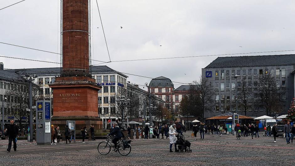 Überblick: Der Luisenplatz in Darmstadt soll per Videoüberwachung sicherer werden