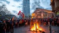 Menetekel: Szene am Rande der Blockupy-Proteste in Frankfurt am 18. März 2015