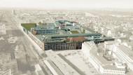Neues Zentrum: Aus dem Opel-Altwerk am Rüsselsheimer Bahnhof (vorne Mitte) soll ein vielfältiges Viertel entstehen mit einer Oldtimer-Schau im Zentrum