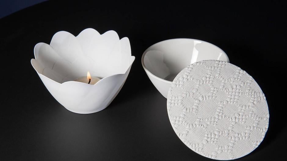 Handgemacht: Teelicht nebst Teedose von Höchster Porzellan